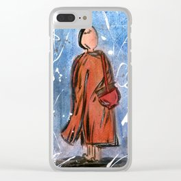 Nail Polish Painting of a Monk Clear iPhone Case