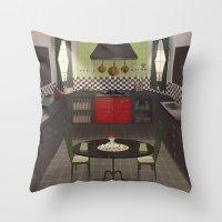 kitchen Throw Pillows featuring Kitchen by Fran Court