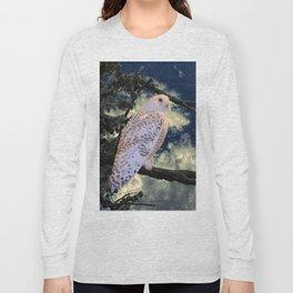 Snowy Owl Bird Stormy Sky A127 Long Sleeve T-shirt