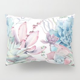 Pretty Pastel Succulents Garden 2 Pillow Sham