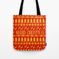 merry christmas Tote Bags featuring Merry Christmas by Fimbis