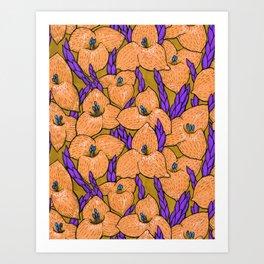 Puya Golden Flowers Tropical Floral Pattern Gold Violet Art Print