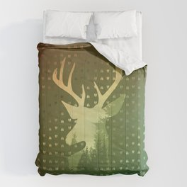 Golden Deer Abstract Footprints Landscape Design Comforters