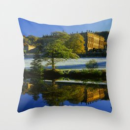 Chatsworth House & River Derwent Throw Pillow