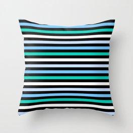 Sky Blue Minty Green Fun Stripes Throw Pillow