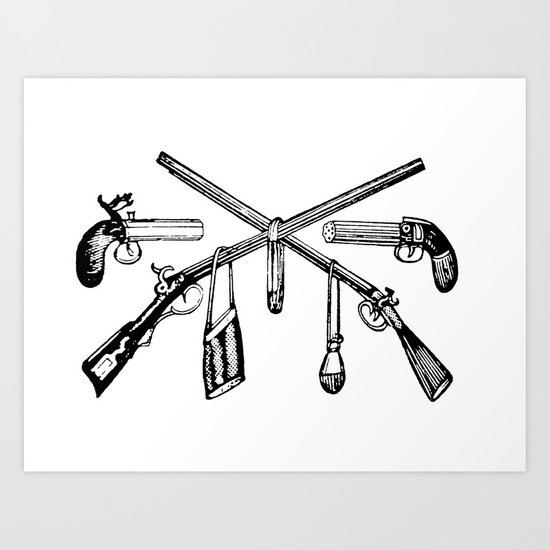 Vintage Gun Collage Art Print