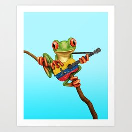 Tree Frog Playing Acoustic Guitar with Flag of Colombia Art Print