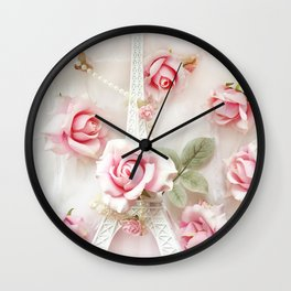 Paris Eiffel Tower Pink White Roses Shabby Chic Floral Print and Home Decor Wall Clock