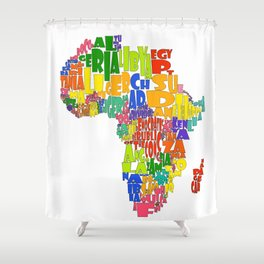 African Continent Cloud Map Shower Curtain