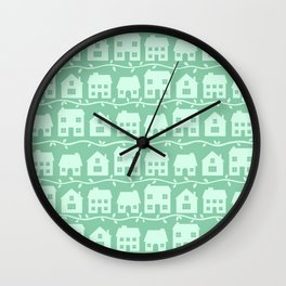 Cottage Charm in Peppermint Green Wall Clock