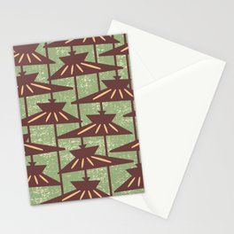 Mid Century Modern Pendant Lamp Composition Sage and Brown Stationery Cards