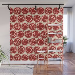 flower block red ivory Wall Mural