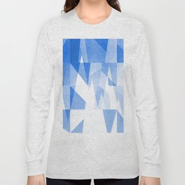 Abstract Blue Geometric Mountains Design Long Sleeve T-shirt