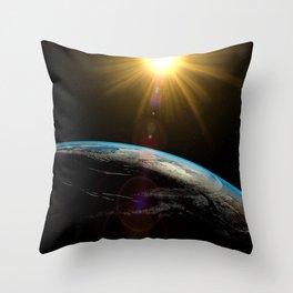 earth sun and moon Throw Pillow
