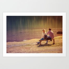 Two lovers admiring the beauty of nature Art Print