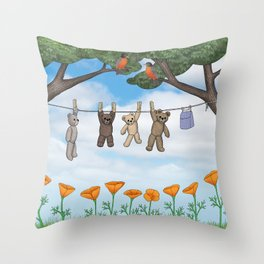 robins, poppies, & teddy bears on the line Throw Pillow