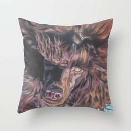 poodle dog portrait from an original painting by L.A.Shepard Throw Pillow