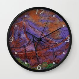Abstract pastel landscape with violet-orange mountains Wall Clock