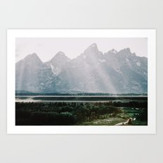 Afternoon Sun Over Teton Mountains Art Print