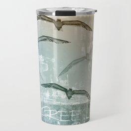 Free Like A Bird Seagull Mixed Media Art Travel Mug