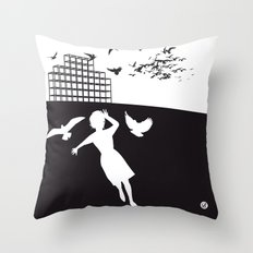 The Black Collection' Birds Throw Pillow