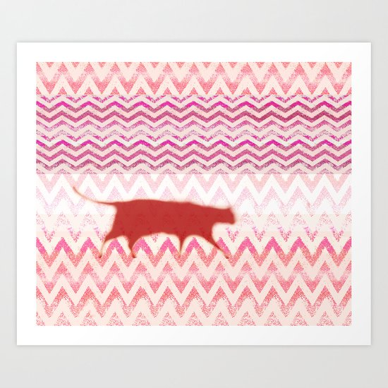 chevron with cat Art Print