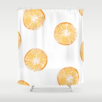 orange pattern Shower Curtains featuring Orange Pattern by Nicole Davis