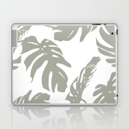 Simply Retro Gray Palm Leaves on White Laptop & iPad Skin