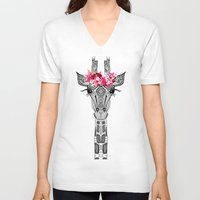 girl V-neck T-shirts featuring FLOWER GIRL by Monika Strigel