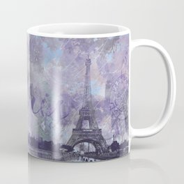 Purple Paris Watercolor Art Coffee Mug