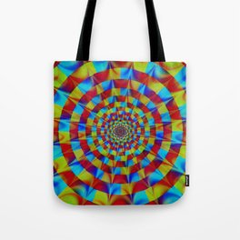 ZOOM #1 Vibrant Psychedelic Optical Illusion Tote Bag