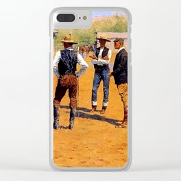 """Frederic Remington Western Art """"Buying Ponies in the West"""" Clear iPhone Case"""
