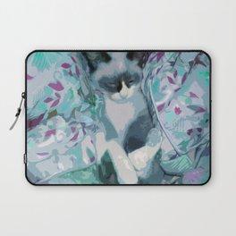 Nestled Kitten in Comforter Cloud Laptop Sleeve