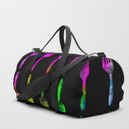 fork and spoon pattern in pink blue yellow with black background Duffle Bag