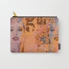 Wild Woman modern face mixed media art orange Carry-All Pouch
