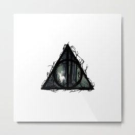 Deathly Hallows - Prongs in the forest with brenches   Marauders - Potterhead - Patronus Metal Print