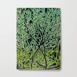 Tangled Tree Branches in Leaf and Lime Green Metal Print