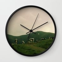 cows Wall Clocks featuring Cows by Camille Hermant