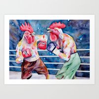 Featherweight Fighters Art Print