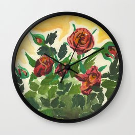 Sweet Red Roses Wall Clock