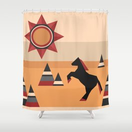 Black horse jumping in the mountains Shower Curtain
