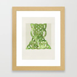 Celtic Knot:  Green Watercolor with complex form - Ireland - traditional folk art Framed Art Print