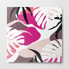 Earth Tones Tropical Abstract Organic Shapes Design Metal Print