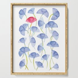 Violets flover, watercolor pattern Serving Tray