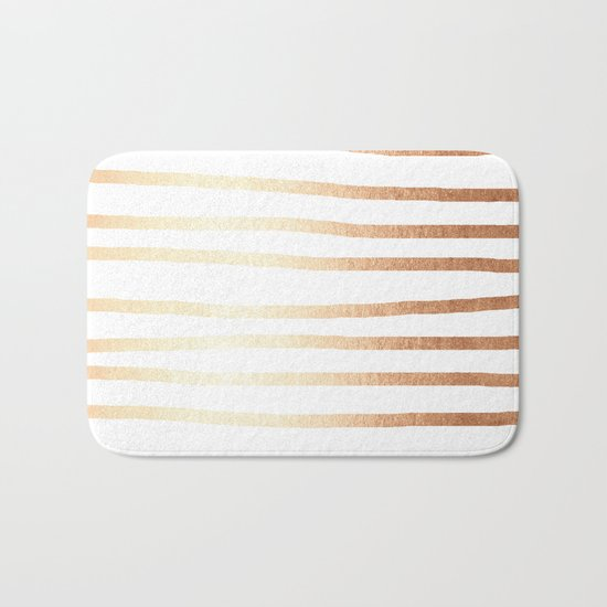 Simply Drawn Stripes Deep Bronze Amber Bath Mat