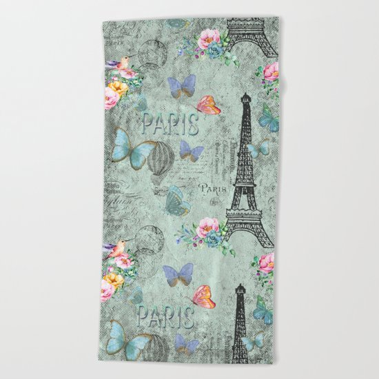 Paris - my love - Nostalgy Vintage Watercolor Illustration Beach Towel