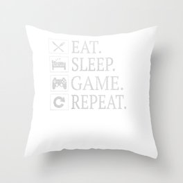 Funny Eat Sleep Game Repeat Gift for Video Games Lover Gifts Throw Pillow