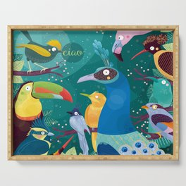 Colorful Birds in the Jungle Serving Tray