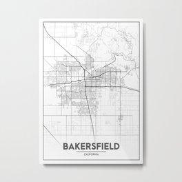 """Minimal City Maps - Map Of Bakersfield, California, United States Metal Print"