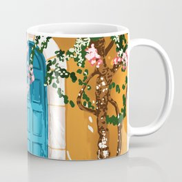 Oh The Places You Will Go, Summer Travel Spain Greece Painting, Architecture Building Bougainvillea Coffee Mug